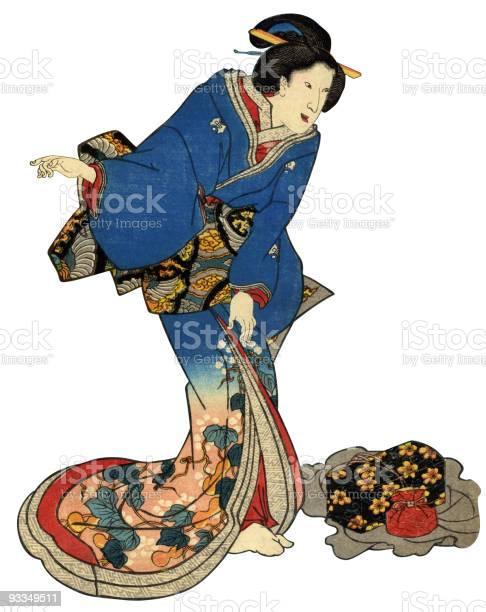 Japanische Holzschnittdruck Stehendes Frau Stock Vektor Art und mehr Bilder von Asiatischer Holzschnitt