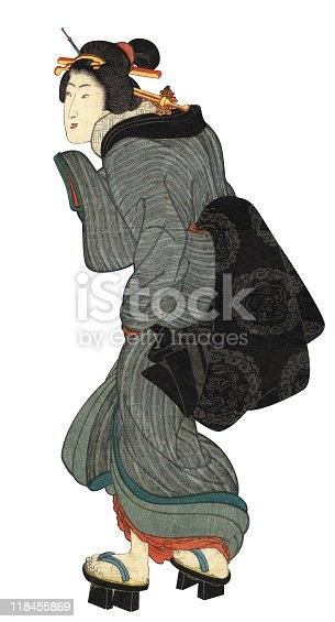 Japanese Woodblock Print of Walking Woman