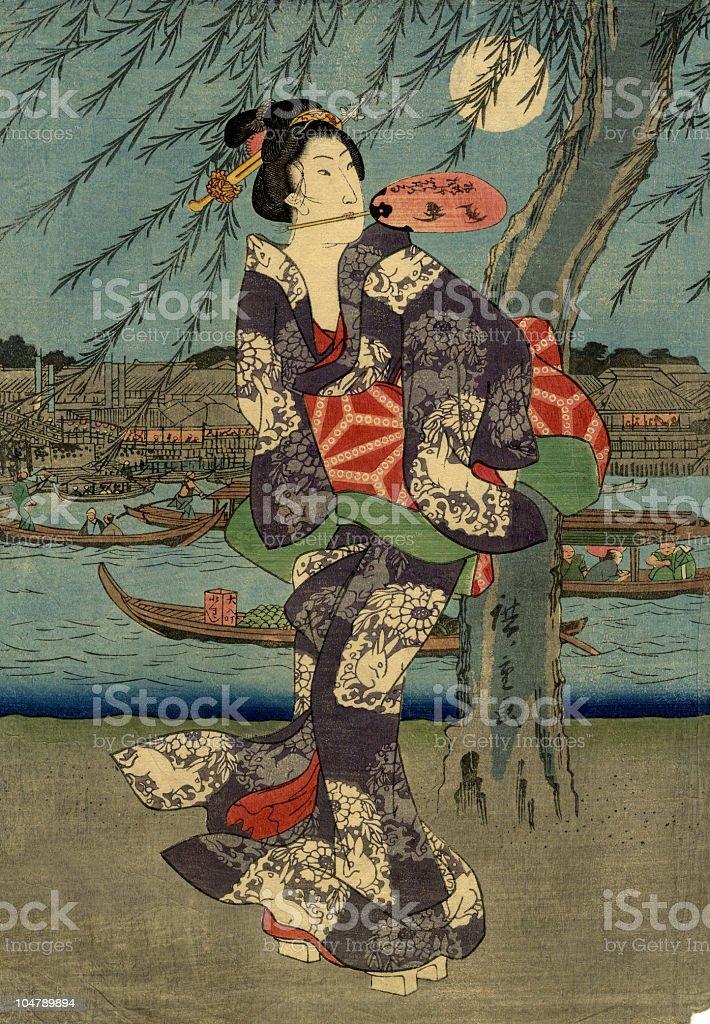 Japanese Woodblock Print Woman and the Moon vector art illustration