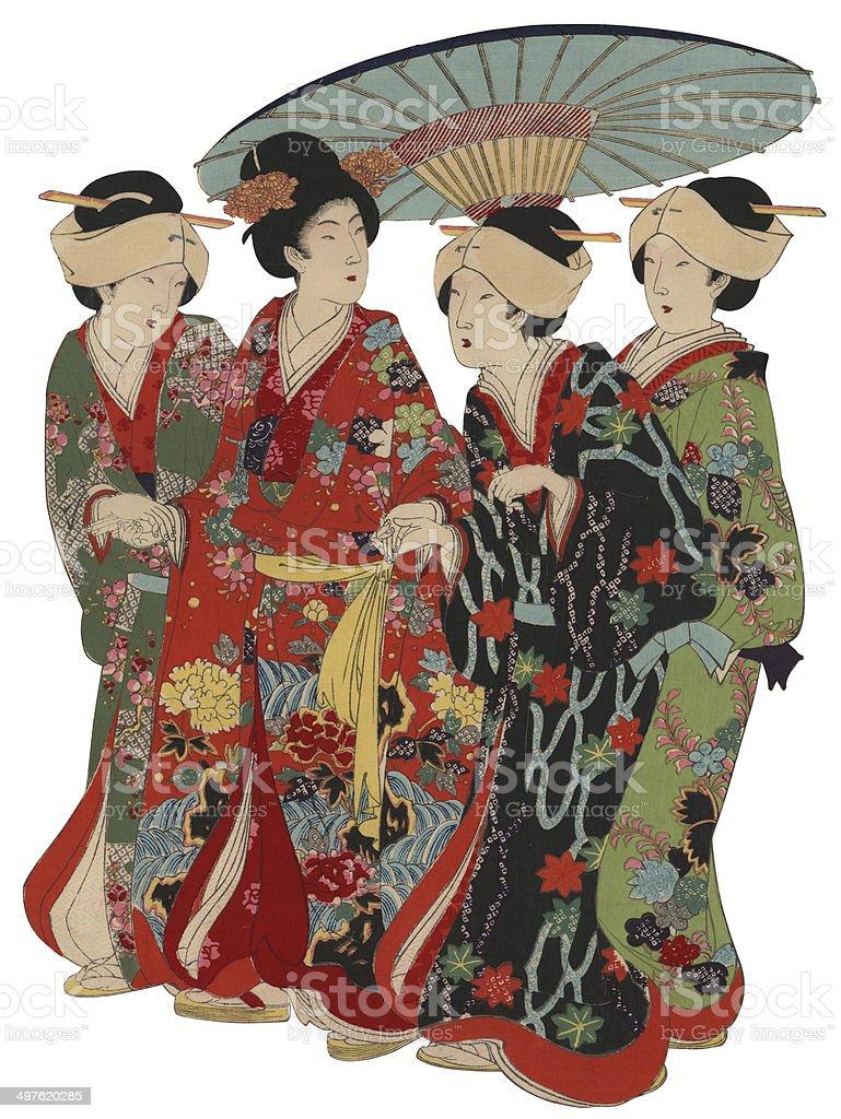 Japanese Woodblock Print Women with Umberella vector art illustration