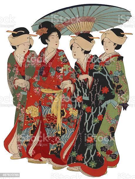 Japanische Holzschnittfrauen Mit Umberella Stock Vektor Art und mehr Bilder von Beleuchtet