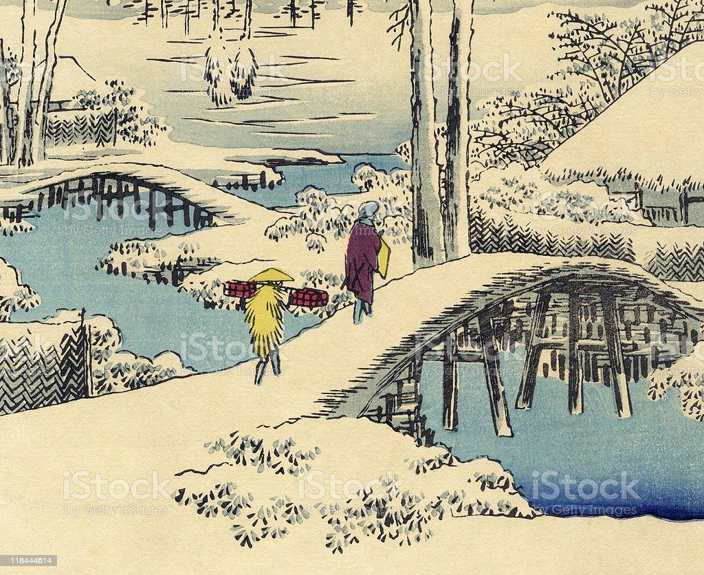 Japanese Woodblock Snow Print by Hiroshige royalty-free stock vector art
