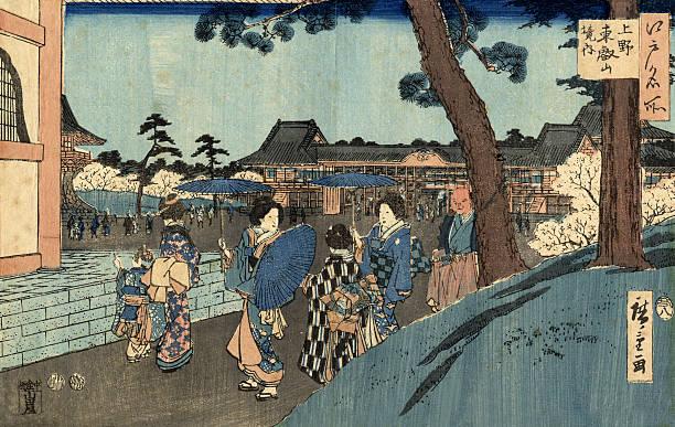 stockillustraties, clipart, cartoons en iconen met japanese woodblock street scene print by hiroshige - japanse etniciteit