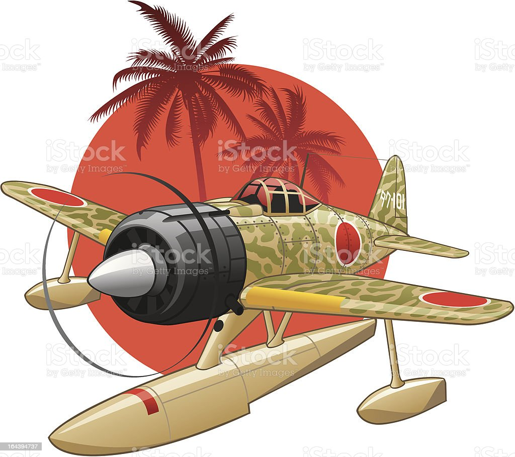 Japanese WW2 seaplane on the rising sun background royalty-free japanese ww2 seaplane on the rising sun background stock vector art & more images of aggression
