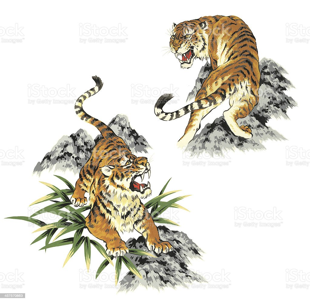 japanesque tiger stock vector art more images of aggression 457570863 istock. Black Bedroom Furniture Sets. Home Design Ideas