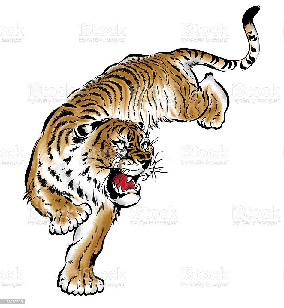 Japanesque tiger vector art illustration