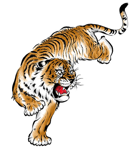 japanesque tiger - tiger stock illustrations, clip art, cartoons, & icons