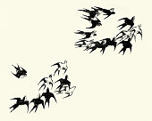 Vintage engraving of Japanesse Art, Flock of swallows
