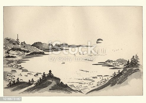 Vintage engraving of Japanesse Art, Landscape by Massayoshi, 19th Century