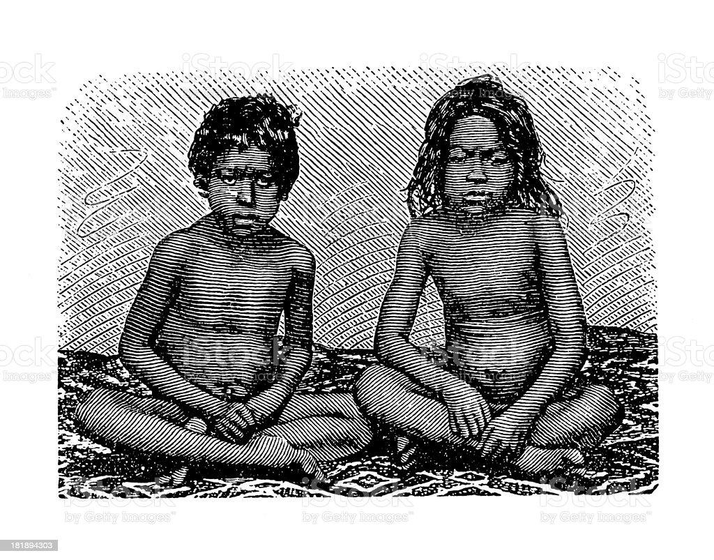 Javanese children (antique wood engraving) royalty-free stock vector art