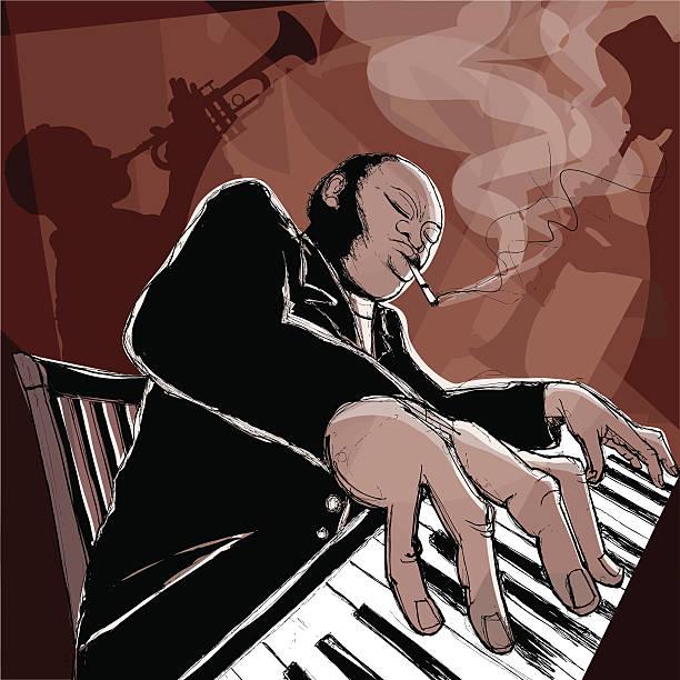 stockillustraties, clipart, cartoons en iconen met jazz band in a night club - tenor