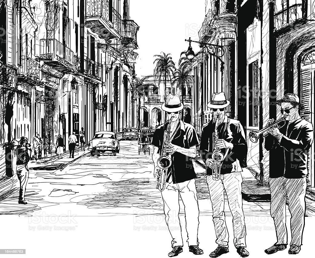 jazz band in cuba vector art illustration