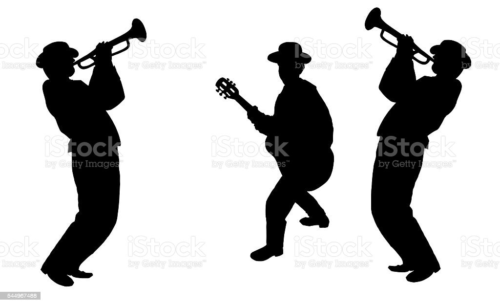 Jazz musicians vector art illustration