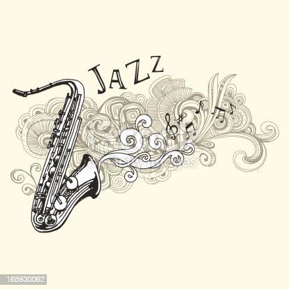 Jazz saxophone drawing stock vector art 165930062 istock - Saxophone dessin ...