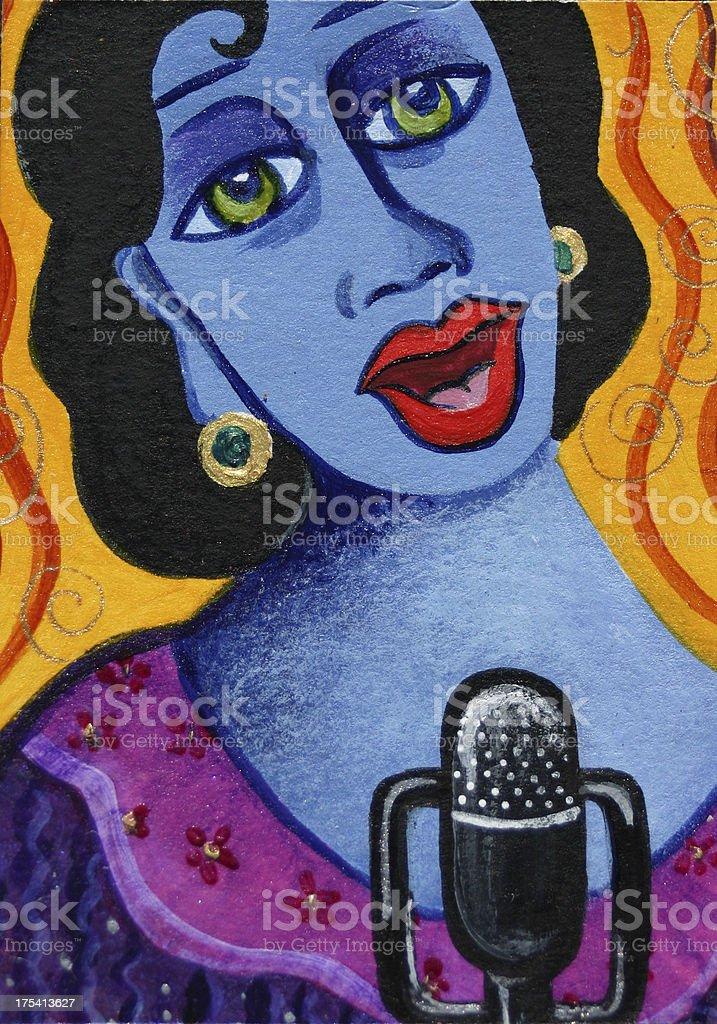 Jazz singing woman royalty-free stock vector art