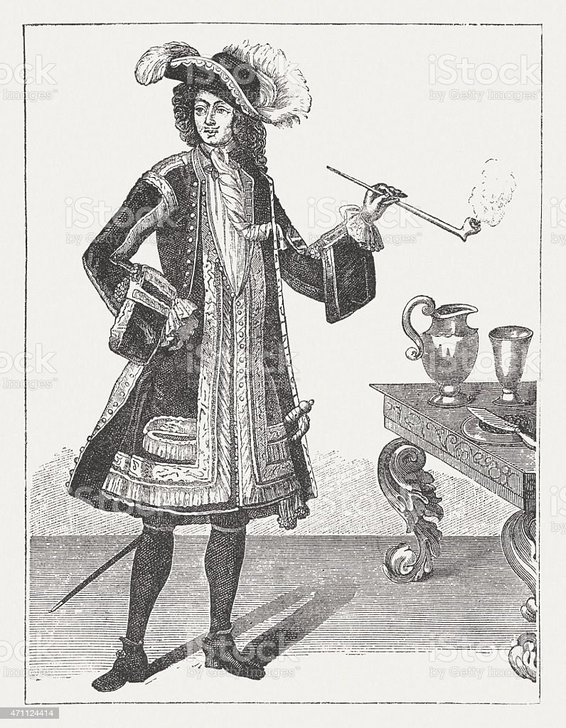 Jean Bart (1650-1702), French privateer, wood engraving, published in 1881 vector art illustration
