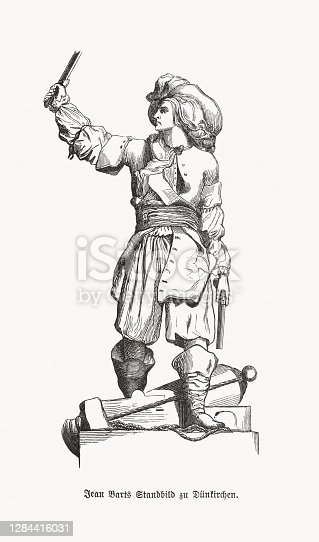 istock Jean Bart (1650-1702), French privateer, wood engraving, published in 1893 1284416031