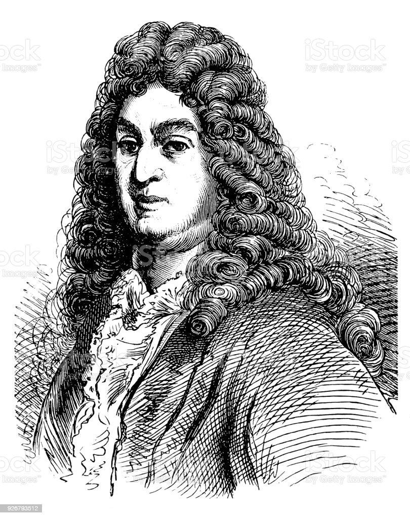 Jean Racine, baptismal name Jean-Baptiste Racine (22 December 1639 – 21 April 1699), French dramatist vector art illustration