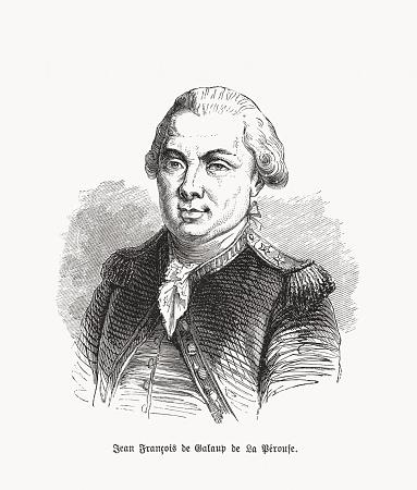 Jean-François de La Pérouse (1741–1788), French navigator, woodcut, published 1893