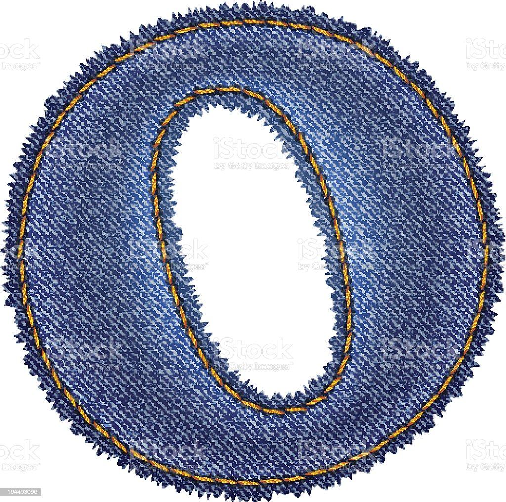 Jeans alphabet. Denim letter O royalty-free stock vector art
