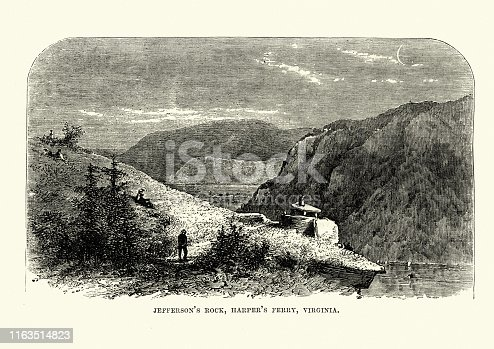 Vintage engraving of Jefferson's  Rock, Harper's Ferry, Virginia, 19th Century