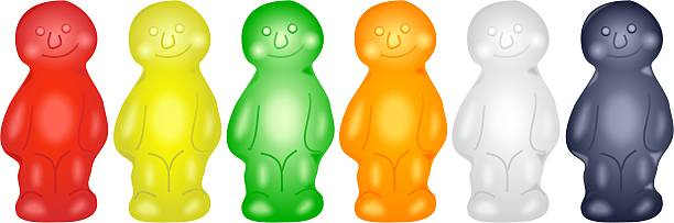 Jelly Babies Cute jelly babies standing in a row. jello stock illustrations