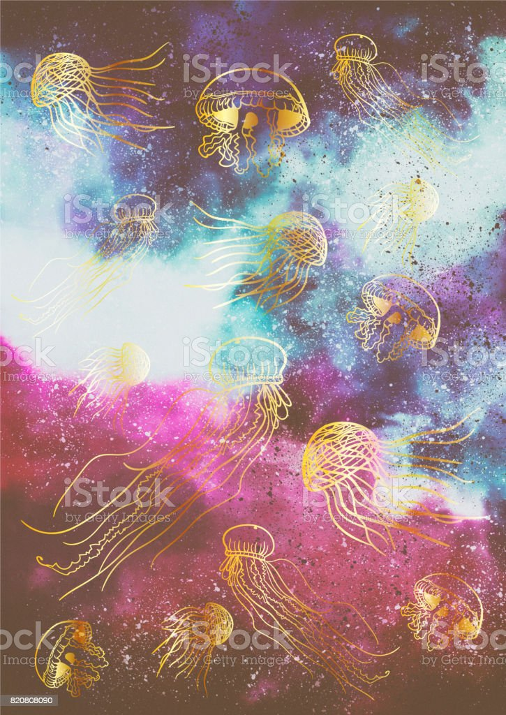 Jellyfish pattern in space vector art illustration