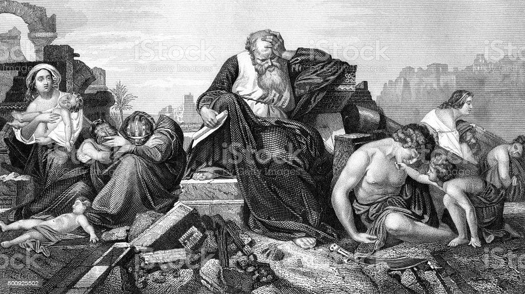 Jeremiah lamenting over Jerusalem vector art illustration