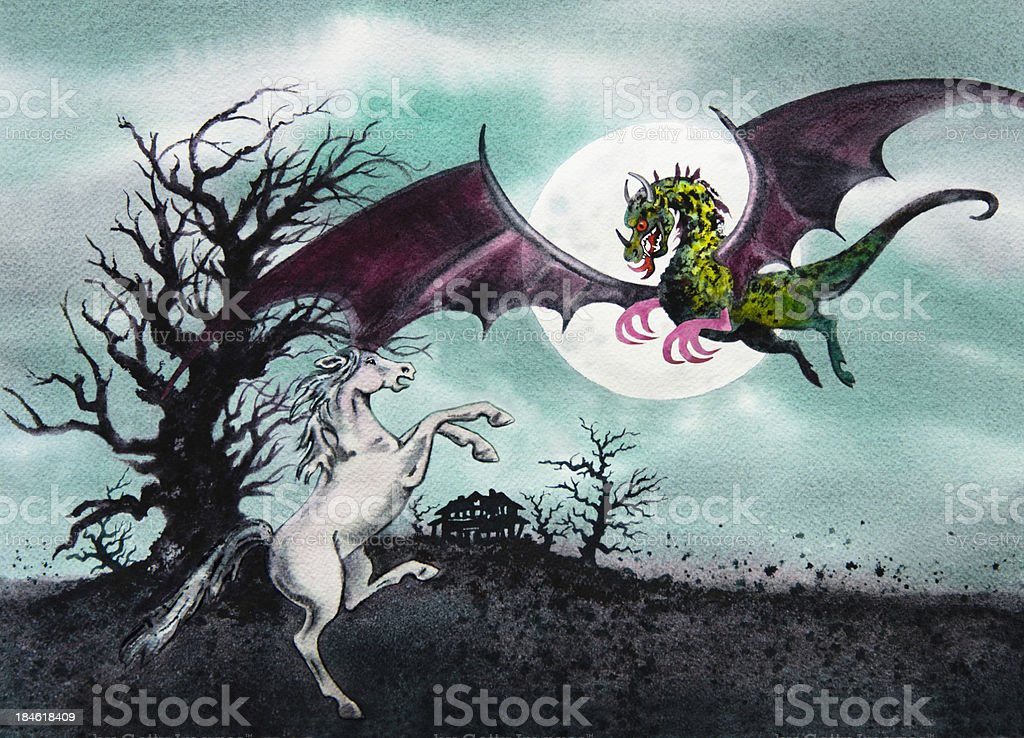 Jersey Devil And The White Steed vector art illustration