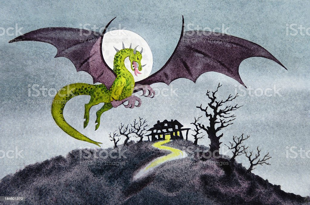 Jersey Devil Haunts the Countryside vector art illustration