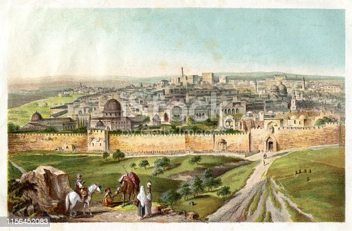 Steel engraving Jerusalem seen from Mount of Olives Original edition from my own archives Source :