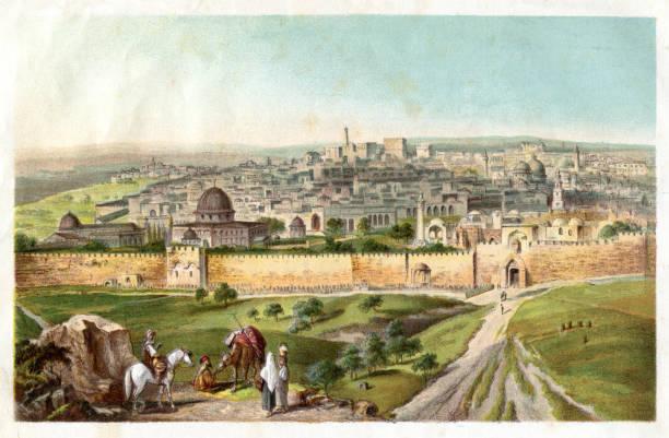 Jerusalem city seen from Mount of Olives 1885 vector art illustration