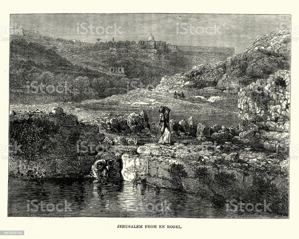 Jerusalem from En Rogel, 19th Century vector art illustration