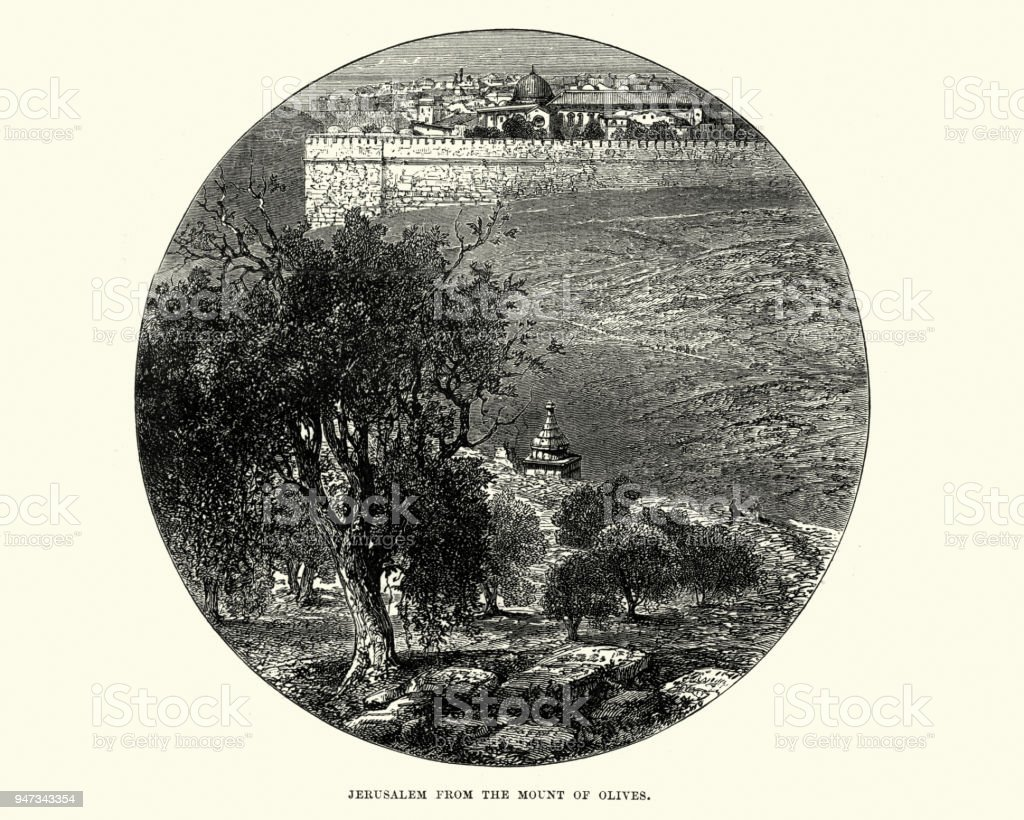Jerusalem from the Mount of Olives, 19th Century vector art illustration