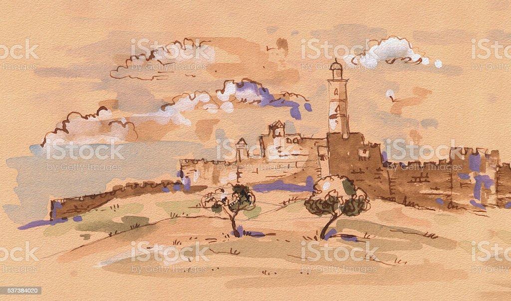 Jerusalem vector art illustration