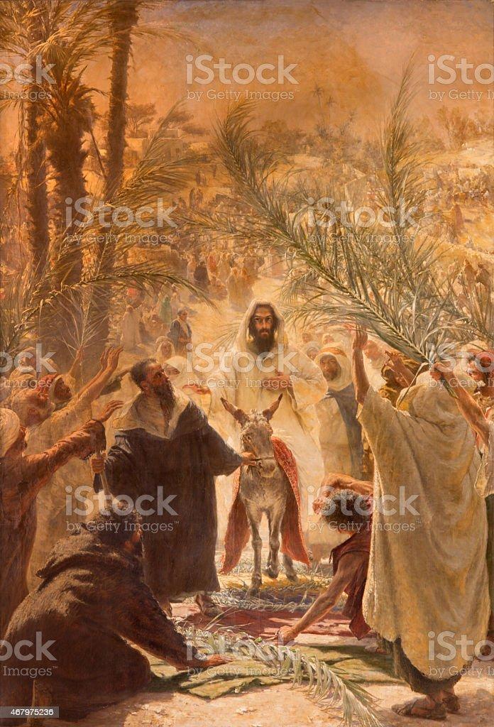 Jerusalem - paint of Palm Sunday vector art illustration