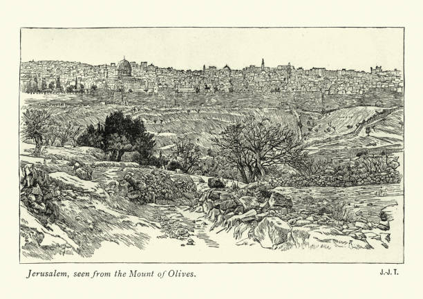 Jerusalem, seen from the Mount of Olives, 19th Century vector art illustration