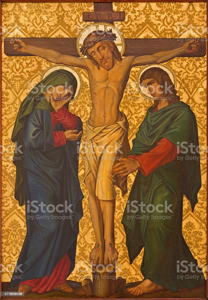Jerusalem - The Crucifixion paint from end of 19. cent. vector art illustration
