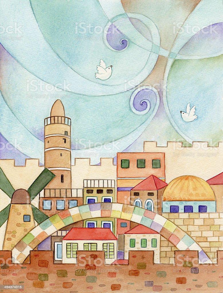 Jerusalem With Doves vector art illustration
