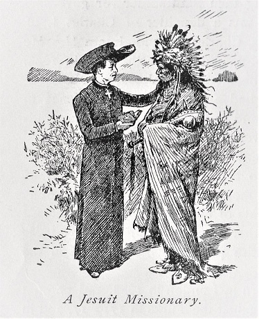A Jesuit Catholic missionary holding a Bible preaches to a Native American man. Illustration published in The New Eclectic History of the United States by M. E. Thalheimer (American Book Company; New York, Cincinnati, and Chicago) in 1881 and 1890. Copyright expired; artwork is in Public Domain.