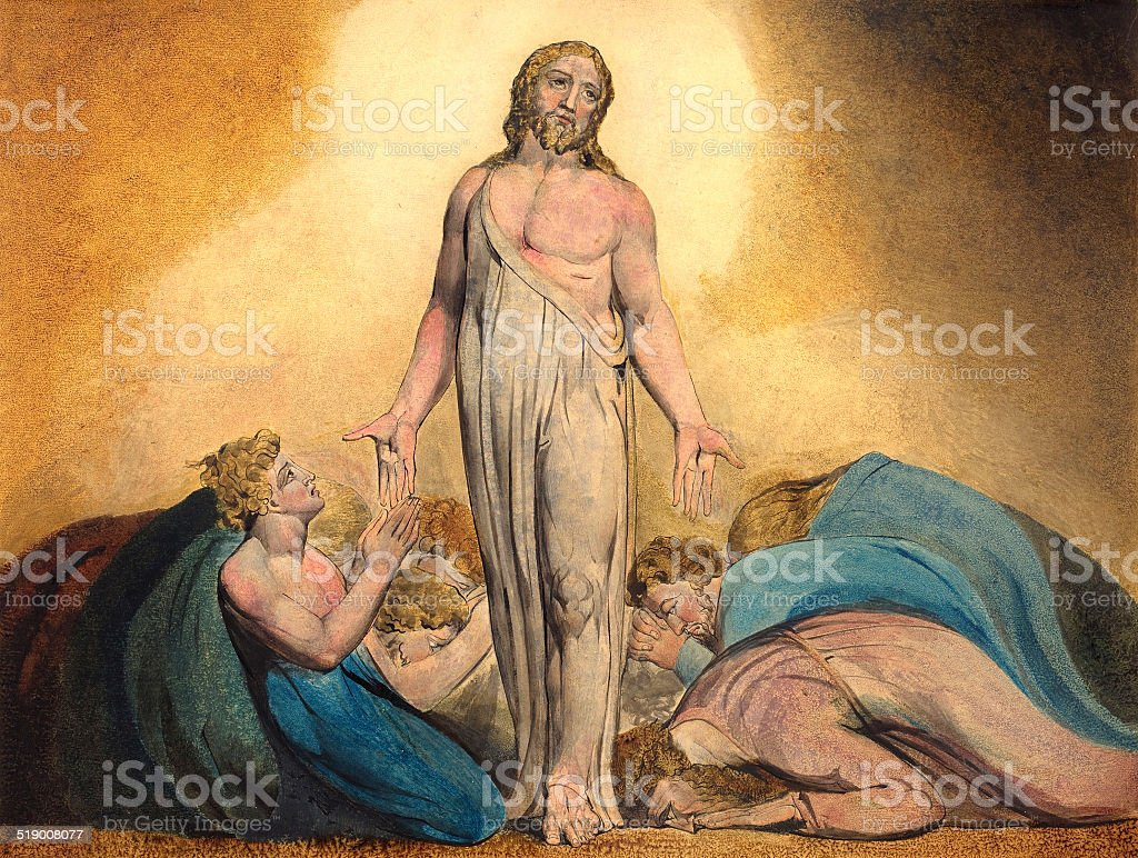 This vintage illustration by William Blake features Jesus appearing...