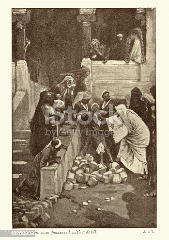 Vintage engraving of Jesus and dumb man possessed with a devil by James Tissot