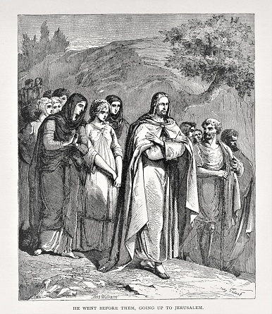 Women and men following Jesus Christ to Jerusalem during Passover. Illustration published in The Life of Christ by Louise Seymour Houghton (American Tract Society: New York) in 1890. Copyright expired; artwork is in Public Domain. Digitally restored.
