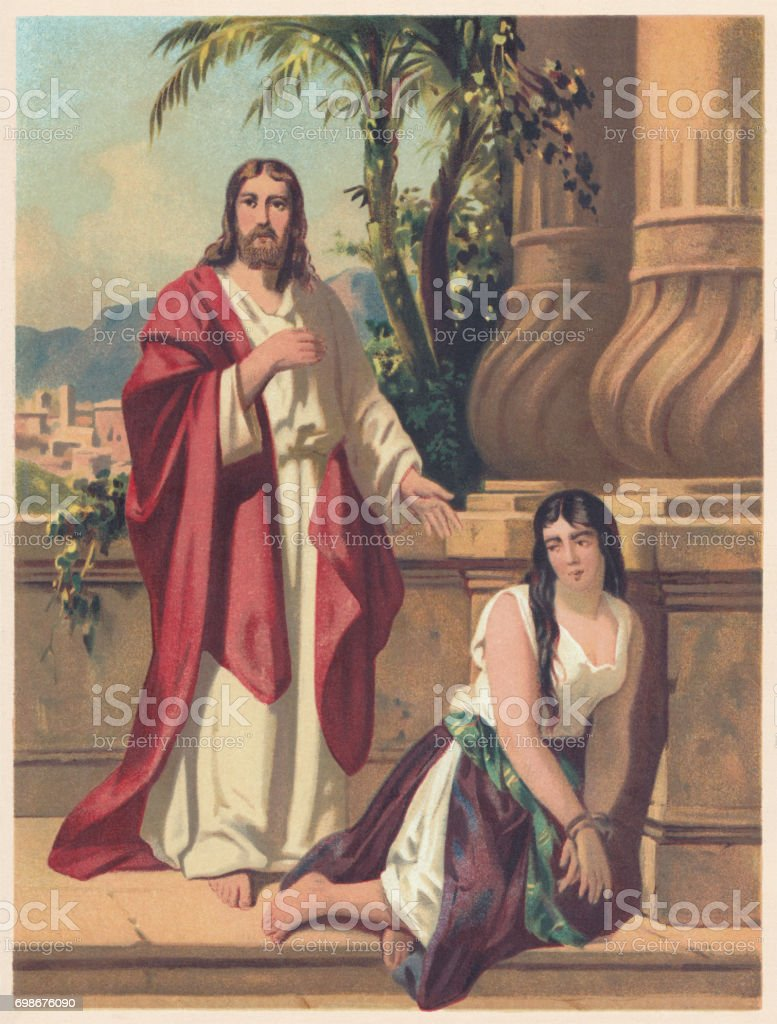 Jesus and the Adulteress (John 8), chromolithograph, published 1886 vector art illustration