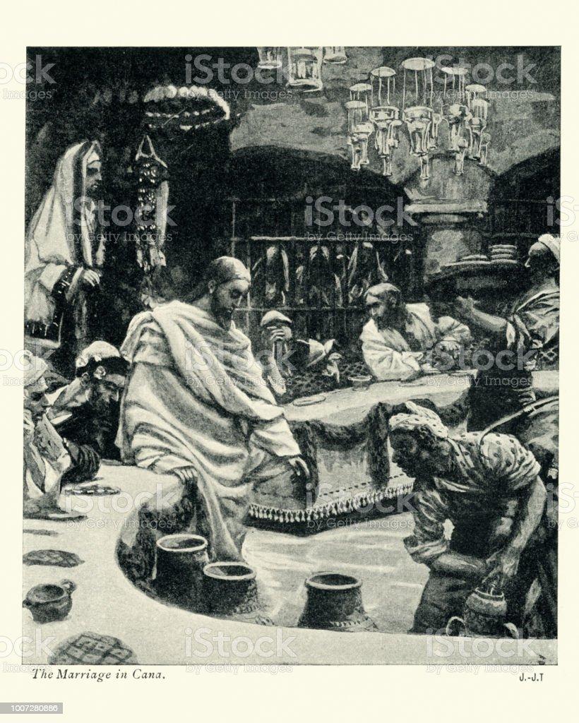 Jesus Und Die Hochzeit Von Kana Stock Vektor Art Und Mehr Bilder Von