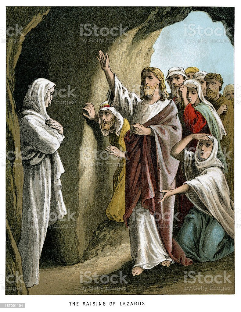 Jesus and the Raising of Lazarus vector art illustration