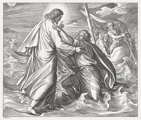 Jesus and the sinking Peter (Matthew 14), published in 1860