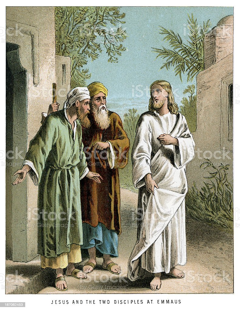 Jesus and the Two Disciples royalty-free stock vector art