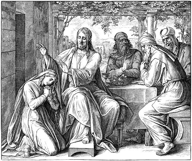 Jesus Anointed by Sinful Woman Engraving by Julius Schnorr von Carolsfeld (March 26, 1794 - May 24, 1872) seven deadly sins stock illustrations