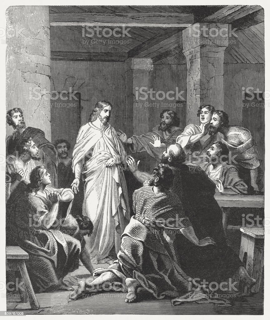 Jesus' Appearance to the Disciples (John 20, 19-20), published 1886 vector art illustration